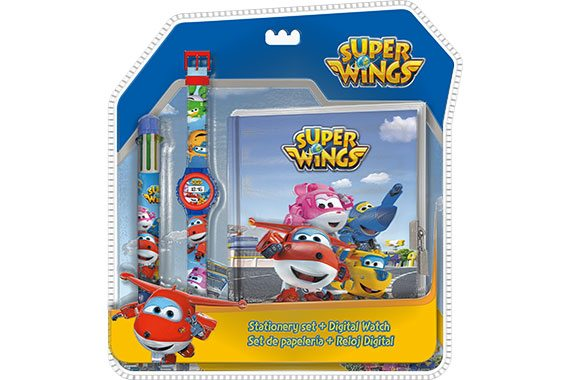 Set de Papeleria + Reloj Digital Super Wings