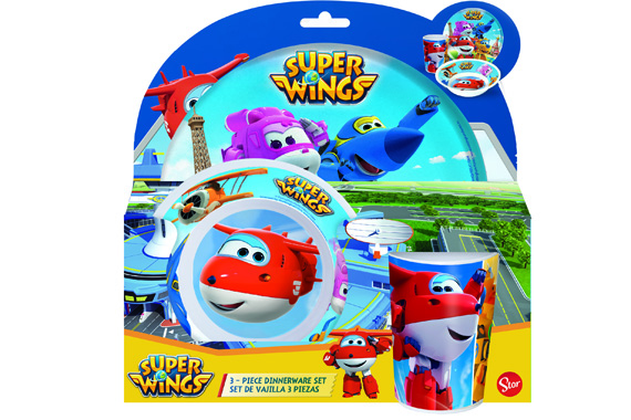 Set Melamina Sin Orla 3 Pcs. (Plato, Cuenco Y Vaso) Super Wings Super Wings