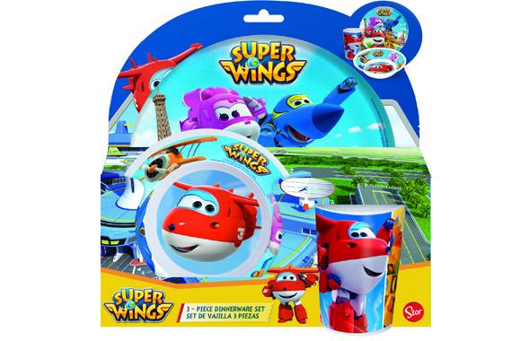 Set Melamina Sin Orla 3 Pcs. (Plato, Cuenco Y Vaso) Super Wings Super Wings