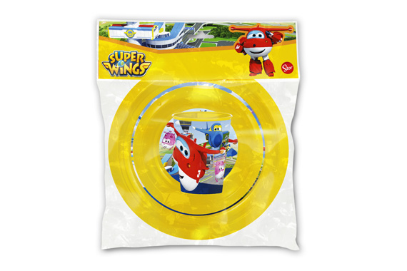 Set Easy 3 Pcs. (Plato, Cuenco Y Vaso 260 Ml.) Super Wings Super Wings